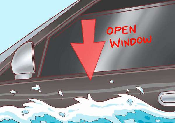 Откройте окно, как только машина коснулась воды