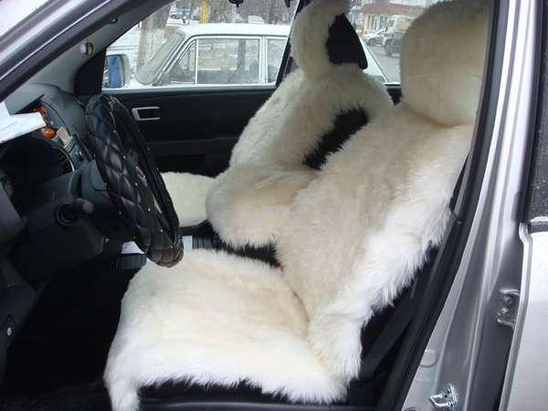 Меховая накидка на автомобильное сиденье