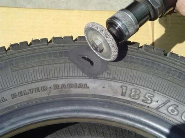 Зачистка поверхности шины бормашиной