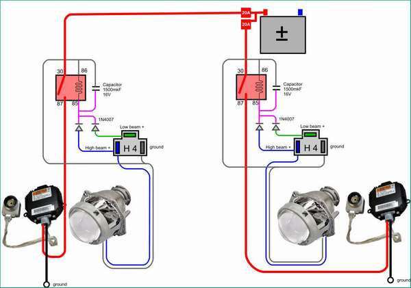 Пример схемы подключения биксенона