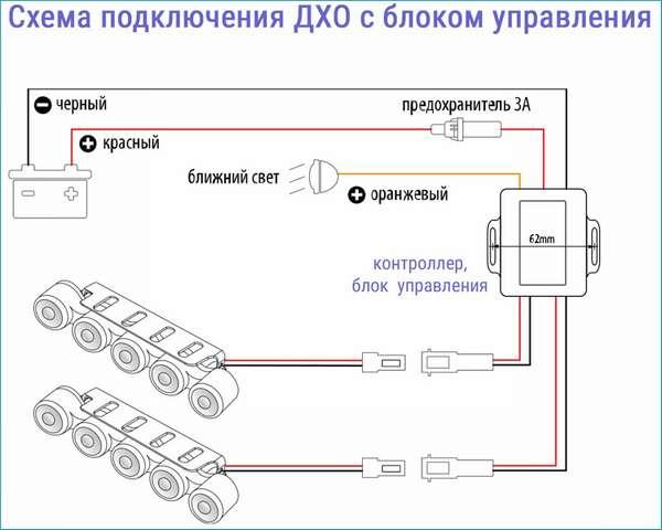 Подключение ДХО с блоком управления
